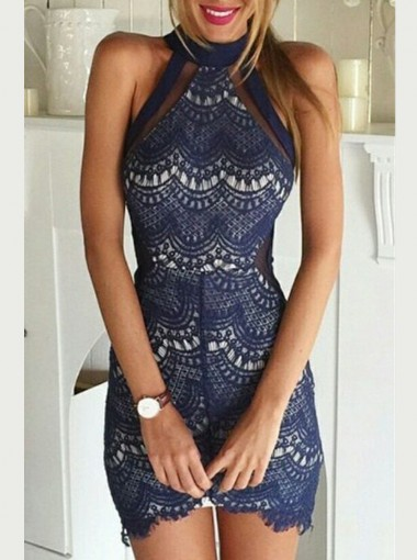 Sexy Sheath High Neck Sleeveless Short Navy Lace Cocktail Dress