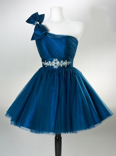 A-line One-Shoulder Above-knee Tulle Dark Blue Homecoming Dress with Bowknot Rhinestones