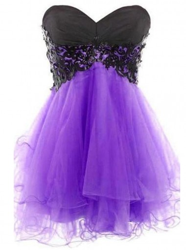 Sexy A-line Sweetheart Short Tulle Lace-up Purple Homecoming Dress with Appliques