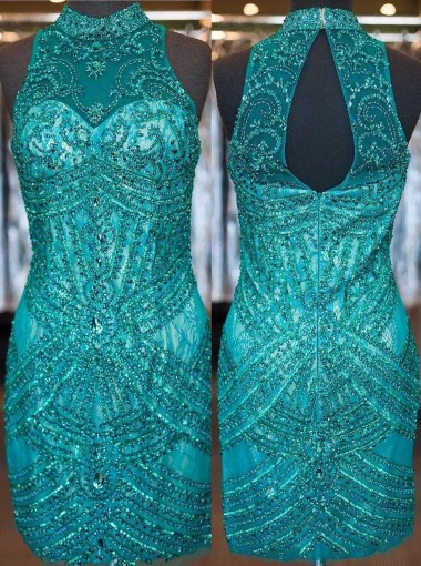 Sheath/Column High Neck Short Tulle Beaded Open Back Turquoise Homecoming Dress