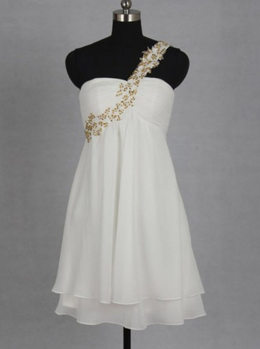 A-line One Shoulder Knee-Length Chiffon Short White Homecoming Dress with Gold Beading