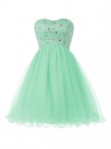 Cute Sweetheart Short Mint Green Homecoming Dress with Beading