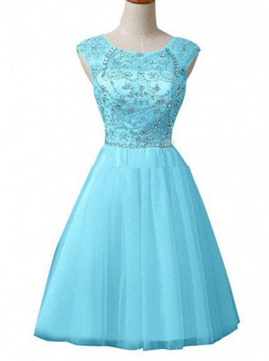 Chic Scoop Knee-Length Open Back Mint Green Homecoming Dress with Beading