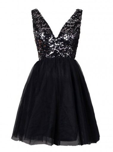 Vintage V-neck Short Black Homecoming Dress Sequined Open Back