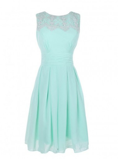 Cute Bateau Knee-Length Mint Green Dress for Homecoming with Lace Pleats
