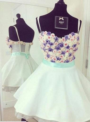 Nectarean Sweetheart Short White Homecoming Dress Tiered with Handmade Flowers Sash