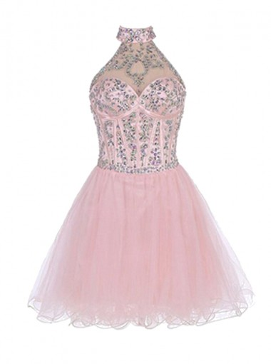 Nectarean Halter Short Pink Homecoming dress with Beading