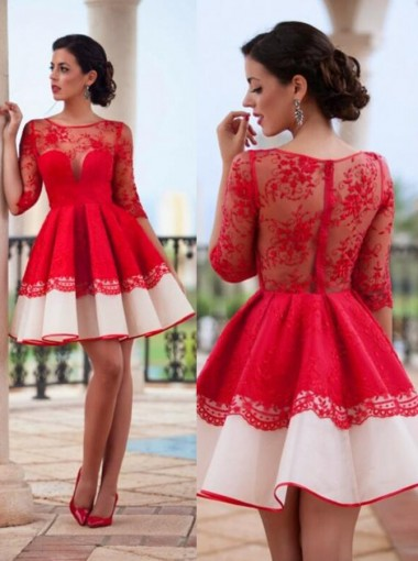 Delicate Jewel Half Sleeves Red Lace Homecoming Dress Ruched