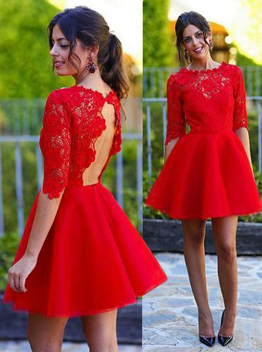 Delicate Jewel Half Sleeves Red Short Homecoming Dress with Lace Top