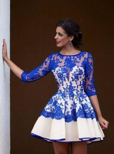 Fashion Bateau 3/4 Sleeves Short Royal Blue Homecoming Dress with Lace Illusion Back