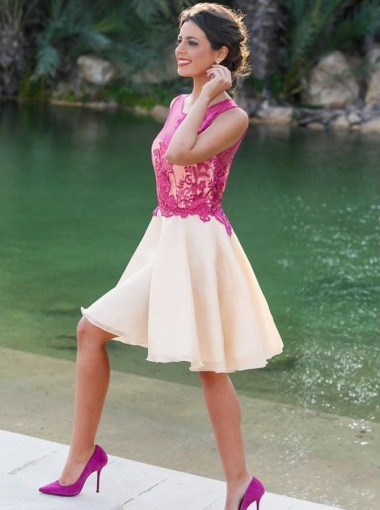 Charming Jewel Sleeveless Short Ivory Homecoming Dress with Fuchsia Appliques