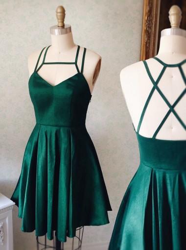 A-Line Halter Short Keyhole Criss-Cross Straps Dark Green Stretch Satin Homecoming Dress