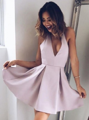 A-Line Deep V-Neck Short Light Purple Satin Homecoming Dress