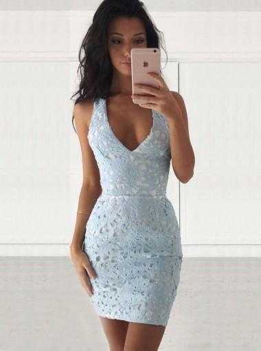 Sheath Deep V-Neck Sleevelss Short Light Blue Lace Homecoming Dress