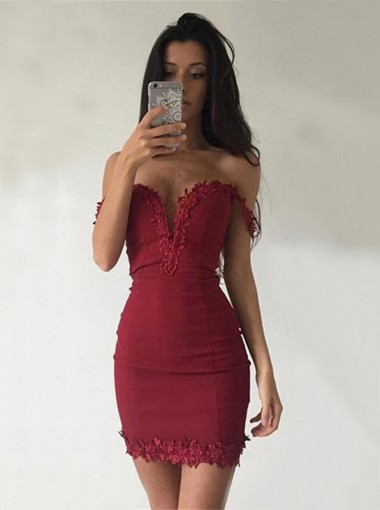 Sheath Off-the-Shoulder Sleeveless Short Dark Red Homecoming Dress with Appliques