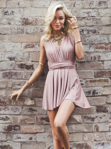 A-Line Deep V-Neck Criss-Cross Straps Short Blush Stretch Satin Homecoming Dress