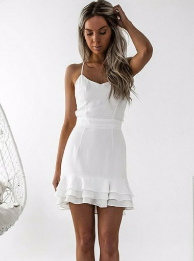 Sheath Spaghetti Straps Pleated White Satin Homecoming Dress