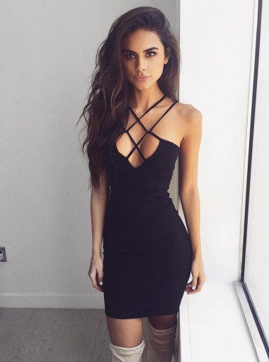 Bodycon Straps Sleeveless Short Spandex Homecoming Dress