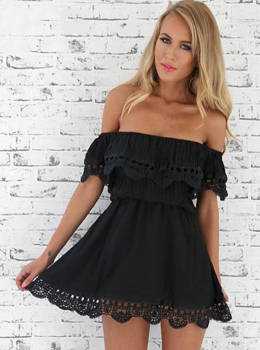 A-Line Off-the-Shoulder Polyester Little Black Dress with Lace Ruffle