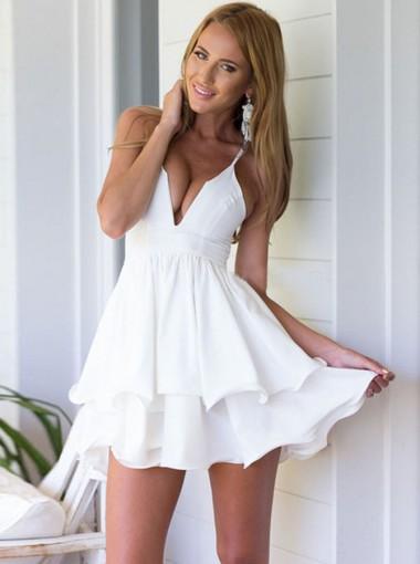 A-Line Spaghetti Straps White Tiered Chiffon Homecoming Dress