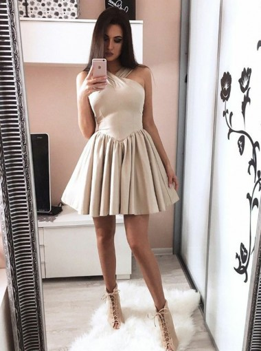 A-Line Cross Neck Dropped Light Champagne Satin Homecoming Dress