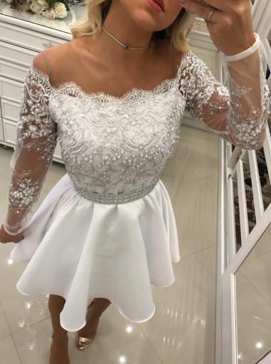 A-Line Illusion Scoop Long Sleeves White Homecoming Dress with Lace Beading