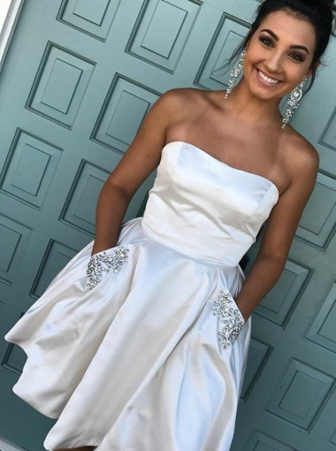 A-Line Strapless Short White Satin Homecoming Dress with Beading Pockets