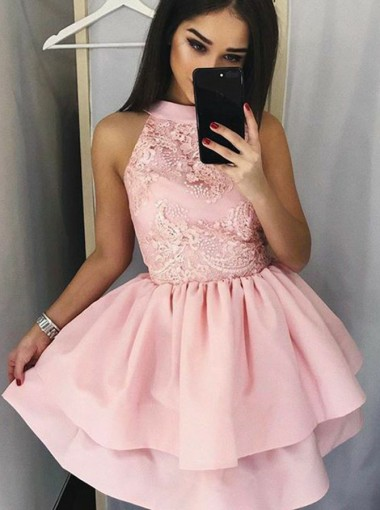 A-Line Round Neck Tiered Pink Short Satin Homecoming Dress with Lace