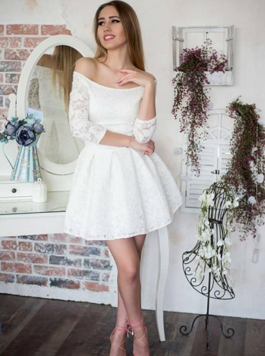 A-Line Off-the-Shoulder 3/4 Sleeves White Lace Homecoming Dress
