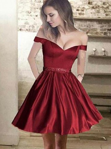 A-Line Off-the-Shoulder Dark Red Satin Homecoming Dress with Appliques Beading