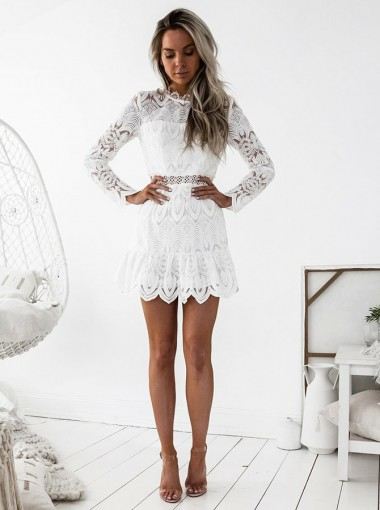 A-Line Round Neck Long Sleeves Short White Lace Homecoming Dress