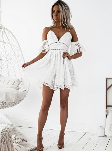 A-Line Spaghetti Straps Short White Lace Homecoming Dress with Ruffles