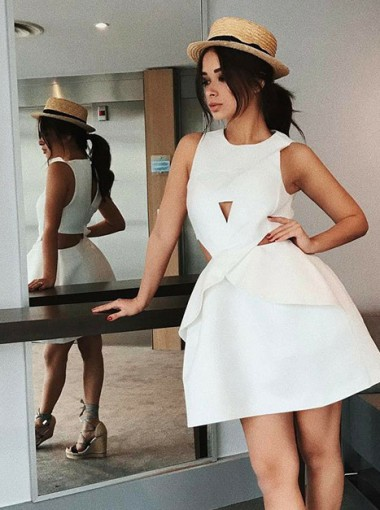 A-Line Round Neck Cut-out Short White Satin Homecoming Dress