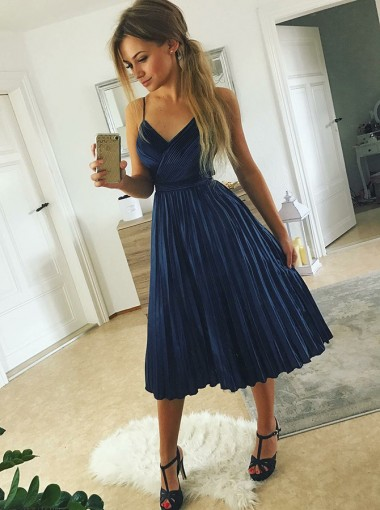 A-Line Spaghetti Straps Pleated Navy Blue Satin Homecoming Dress