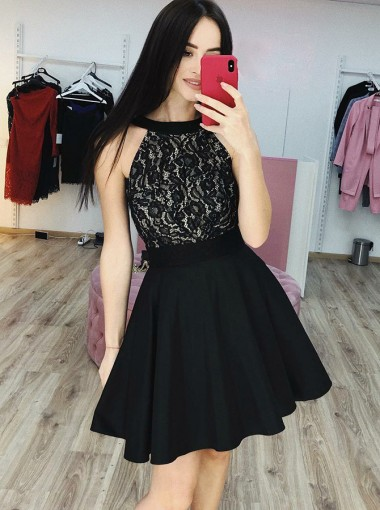 A-Line Round Neck Short Black Homecoming Party Dress with Lace