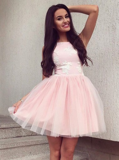 A-Line Bateau Short Pearl Pink Tulle Homecoming Dress with Lace