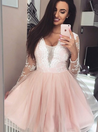 Scoop Pearl Pink Tulle Homecoming Party Dress with Sleeves Lace