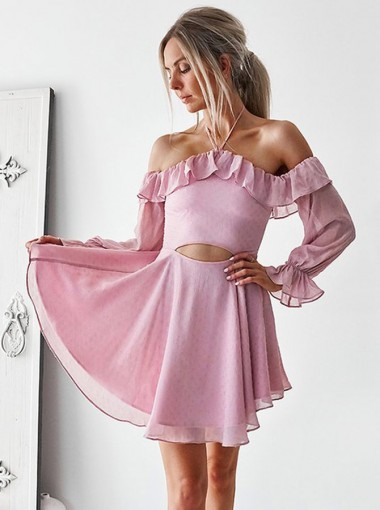 A-Line Halter Cut Out Pink Chiffon Homecoming Dress with Ruffles Sleeves