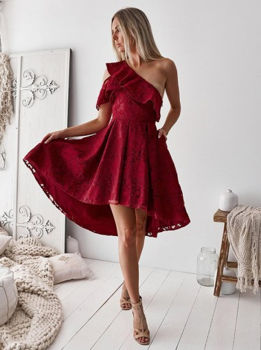 A-Line One Shoulder High Low Pleated Red Lace Homecoming Dress