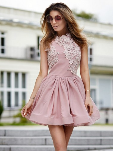 A-Line Jewel Sleeveless Satin Short Pink Homecoming Dress with Appliques