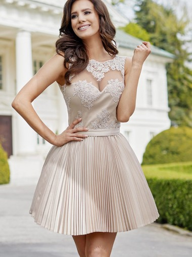 A-Line Round Neck Champagne Satin Homecoming Party Dress with Appliques
