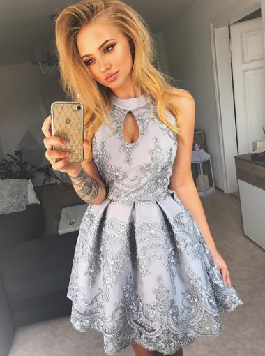 A-Line Jewel Grey Cut Out Lace Satin Short Homecoming Party Dress