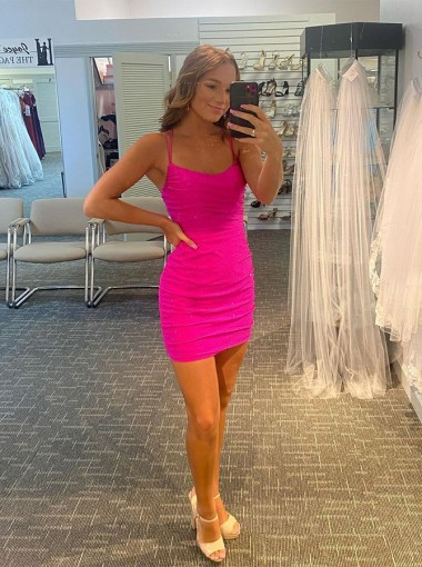 Short Criss-Cross Straps Pink Homecoming Dress