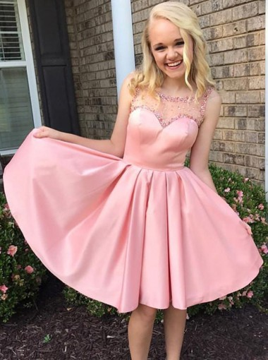 A-Line Round Neck Pleats Pink Satin Homecoming Dress with Beading