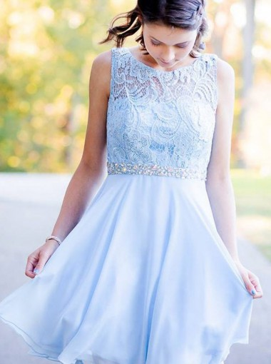 A-Line Round Neck Blue Chiffon Homecoming Dress with Lace Beading