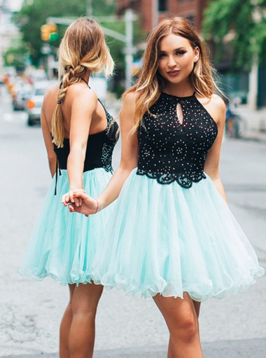 A-Line Halter Black Tulle Homecoming Party Dress with Beading