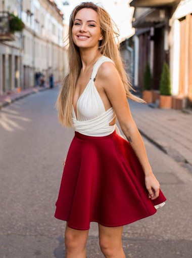 A-Line V-Neck Convertible Style Short Red Homecoming Party Dress