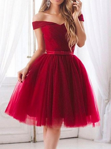 A-Line Off-the-Shoulder Red Tulle Homecoming Dress with Bowknot
