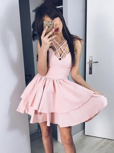 A-Line Cut-Out Tiered Pink Short Homecoming Party Dress
