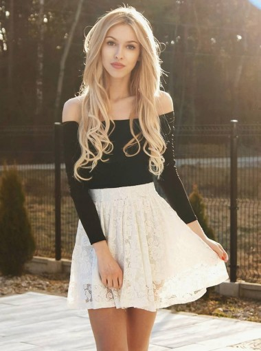 A-Line Off-the-Shoulder Lace Homecoming Party Dress with Sleeves